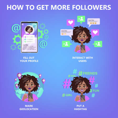 How to get many follower guide for people who want to be popular. Internet feedback, like and share. Life in social media. Isolated flat vector illustration