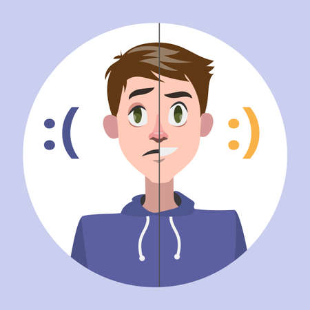 Man with mood swings. Man with bad emotion. Depression as symptom of disease. Isolated flat vector illustration