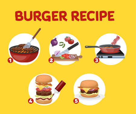 Recipe for homemade burger. Cooking american fast food at home. Tasty fresh meal for dinner. Isolated flat vector illustration