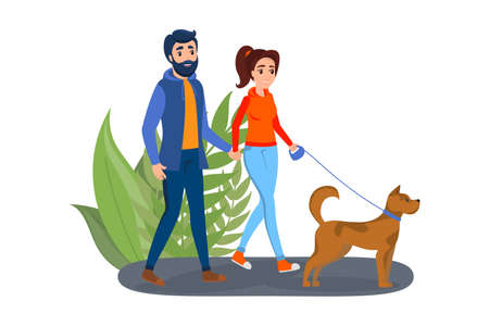 Couple walk a pet dog on the street. Man and woman walkinng hand by hand. Family in the park. Isolated vector illustration in cartoon style