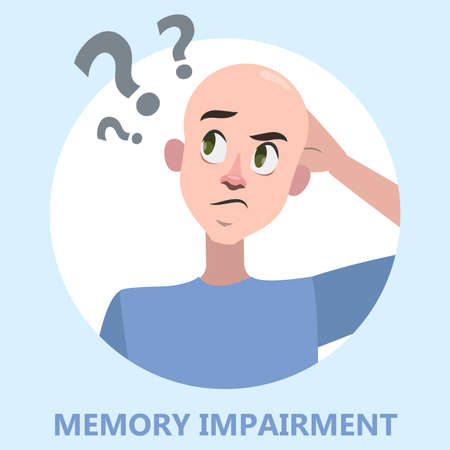 Memory loss concept. Man with mental health problem. Guy with amnesia. Isolated vector flat illustration Illustration