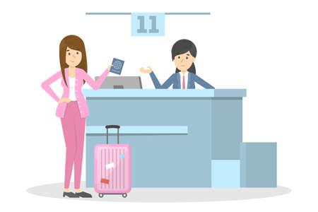 Femme debout dans l'aéroport au comptoir d'enregistrement. Passager avec bagages. Idée de tourisme et de transport. Illustration plate de vecteur isolé Vecteurs