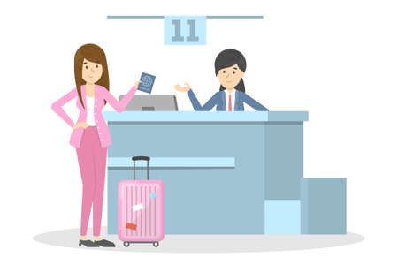 Woman standing in the airport at check-in counter. Passenger with baggage. Idea of tourism and transportation. Isolated vector flat illustration Illusztráció