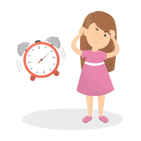 Annoyed child cover ear from a noise. Loud alarm clock and angry kid. Isolated vector flat illustration