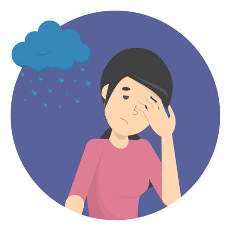 Sad depressed woman with rainy cloud above as a metaphor of bad mood. Unlucky girl with desperate emotion on face. Isolated flat vector illustration Illustration