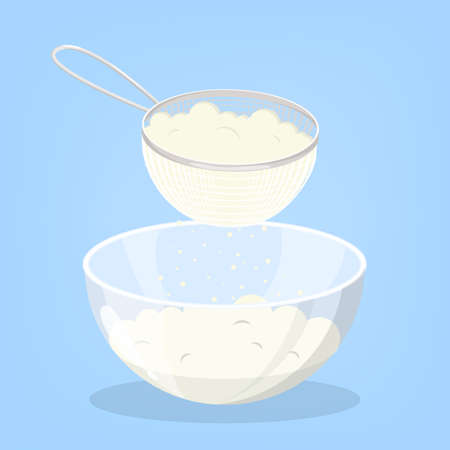 Flour in the sieve. Prepare flour for baking cake or bread. Sift product for cooking. Isolated vector flat illustration