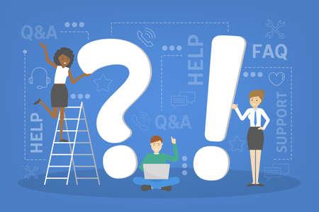 Q and A service concept. Idea of customer service
