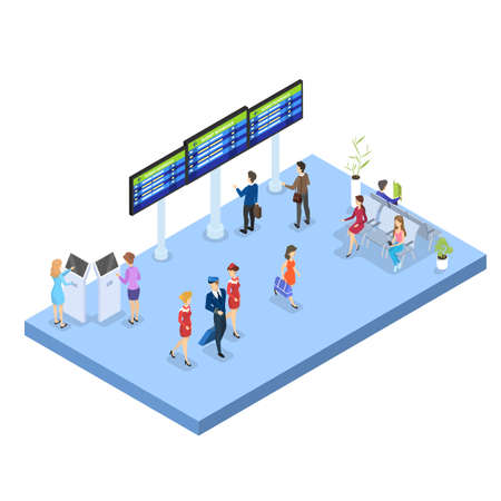 Airport with passenger. Check-in area, waiting hall and self registration. People with passport look at schedule. Travel and tourist concept. Isolated vector isometric illustration Ilustração