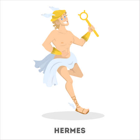 Hermes ancient greek god character. Man in winged sandals