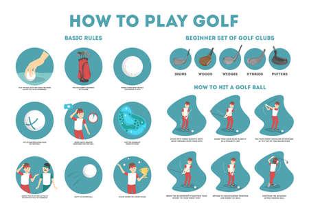 Come giocare a golf guida per principianti. Regole di base e set di mazze da golf. Giocatore dell'uomo sul campo con la palla. Lezione di golf. Illustrazione vettoriale piatta Vettoriali
