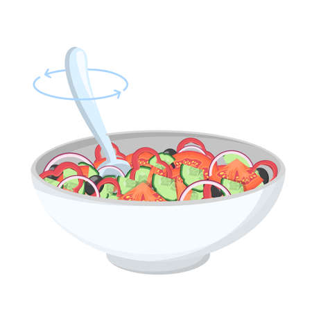 Greek salad in a bowl. Organic healthy food. Cucumber and tomato, feta cheese and pepper with salt and oregano. Mix ingredients with spoon. Isolated flat vector illustration Ilustração