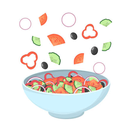 Greek salad in a bowl. Organic healthy food. Cucumber and tomato, feta cheese and pepper with salt and oregano. Ingredients set. Isolated flat vector illustration