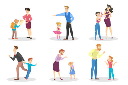 Angry people screaming at young children set. Conflict in the family. Furious mother and father in anger. Punishment from parent. Vector illustration in cartoon style Illustration