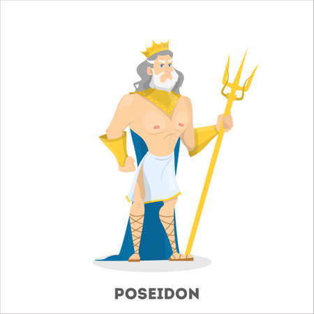 Poseidon ancient greek god character. Sea man from underwater with trident from greece mythology. Vector illustration in cartoon style
