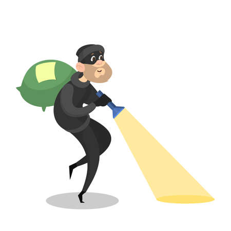 Thief or burglar stealing money. Man in the mask with bag full of money. Criminal character. Isolated vector illustration in cartoon style