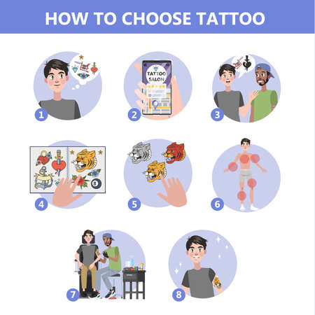 How to choose tattoo instruction. Making difficult choice. Planning budget and searching for artist. Consultation in studio with specialist, finding creative sketch. Isolated flat vector illustration  イラスト・ベクター素材