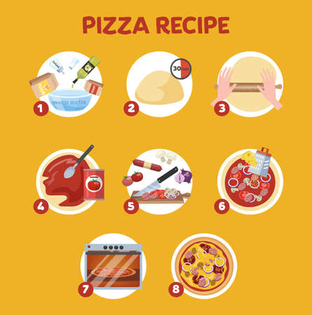 How to make pizza at home. Easy recipe for homemade italian food. Salami and sauce, tomato and cheese. Hot food making.