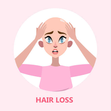 Hair loss problem. Stressed woman with alopecia Illustration