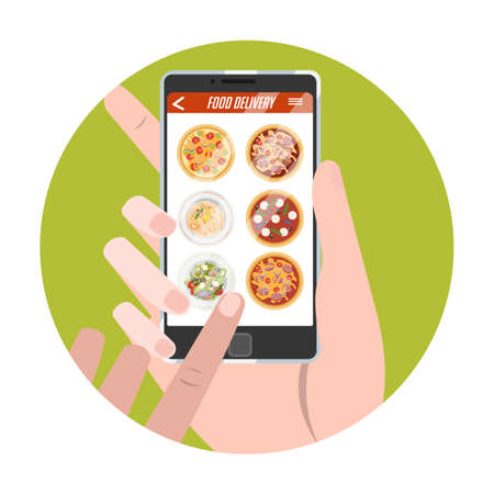 Online food order in the app process. Select food button. Buying pizza in e-store. Internet shop website in mobile phone. Isolated vector flat illustration Ilustración de vector
