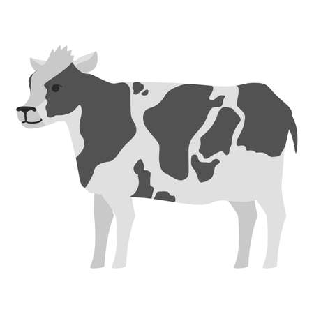 Cow farm animal. Milk and dairy production. Domestic cute mammal. Isolated flat vector illustration
