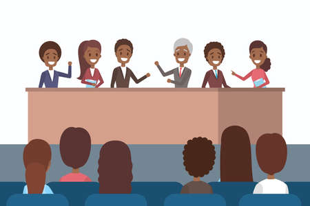 Business team making business presentation in front of group of people. Presenting business plan on seminar. Flat vector illustration