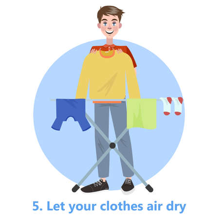 Man put his clothes to dry on the rope. Clothing on the washing line. T-shirt and sock, towel. Flat vector illustration