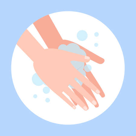 Wash hand with soap. Washing dirty hands guidance. Idea of healthcare. Isolated flat vector illustration Иллюстрация