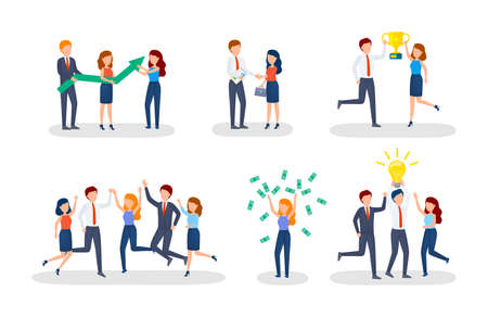 Business concept. Idea of strategy and achievement in teamwork. Brainstorm and work process. Isolated vector isometric illustration Ilustrace