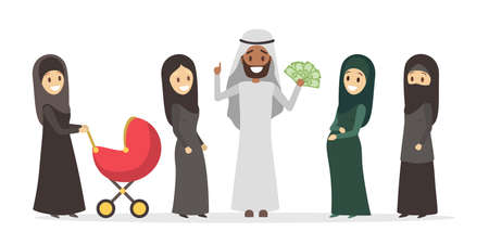 Polygamy arabic family. Girl in hijab. Man with many wifes Çizim