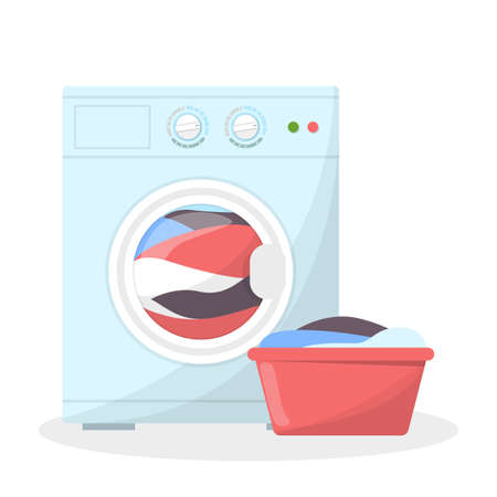 Washing machine and basket full of dirty clothes near. Laundry and domestic work. Equipment for things cleaning. White washer. Isolated flat vector illustration Vectores