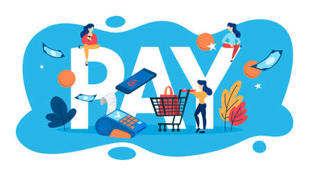 Pay concept. Idea of payment and commerce. Financial service and digital money. Vector illustration in cartoon style