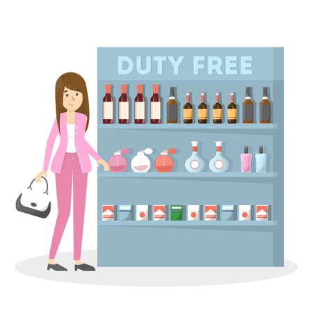 Duty free nell'edificio dell'aeroporto. Donna che compra dolci, cioccolato e bevande a buon mercato. Senza tasse. Illustrazione piatta vettoriale