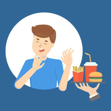 Mann mit Nahrungsmittelabneigung oder Essstörung. Kerl lehnt Fastfood ab. Krankheitssymptom. Ungesunde Ernährung. Isolierte flache Vektorillustration