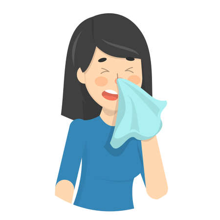 Woman sneeze. Ill girl in a fever
