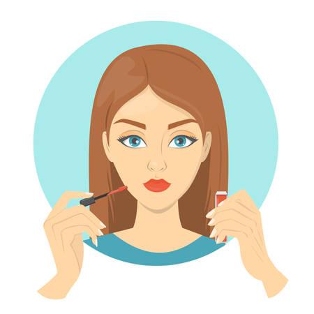 Donna che mette rossetto rosso sulle labbra. Trucco viso, bellezza e stile di vita alla moda. Illustrazione vettoriale isolato in stile cartone animato. Vettoriali