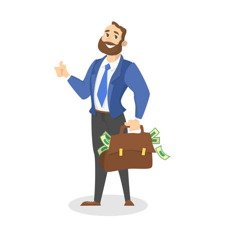 Businessman with money. Happy successfull man standing with bag full of money banknotes. Financial well-being. Isolated vector illustration in cartoon style
