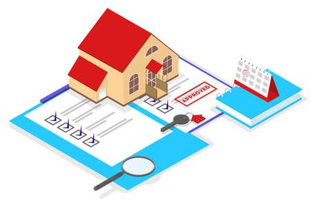 Real estate agent concept. House sale offering. Illustration