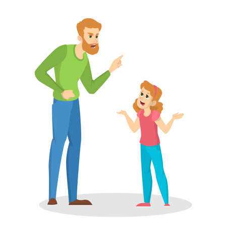 Angry parent screaming at young child. Conflict in the family. Furious father in anger. Punishment from parent. Vector illustration in cartoon style Illustration