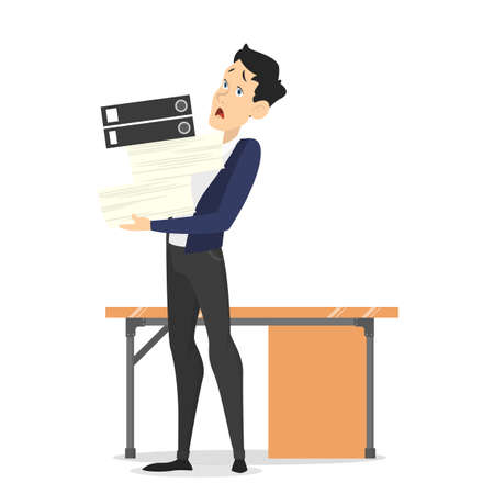 Man at the desk with pile of document. Tired worker in stress. Idea of deadline. Isolated vector illustration in cartoon style