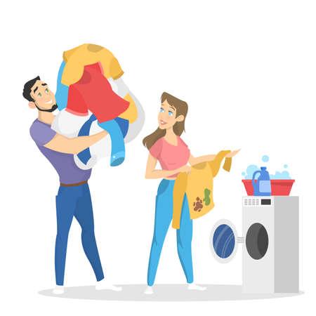 Familie Wäsche in der Waschmaschine waschen. Kleidung Pflege. Haufen Kleider. Isolierte flache Vektorillustration