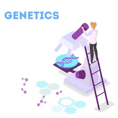 Concepto de ingeniería genética. Experimento de biología y química. Ilustración de vector