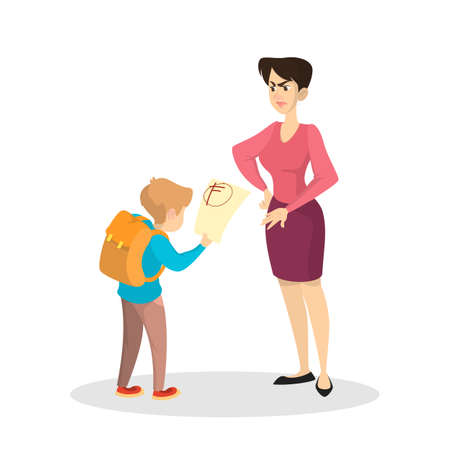 Angry mother and upset boy with bad grades. Sad child cry and holding paper from school. Isolated flat vector illustration
