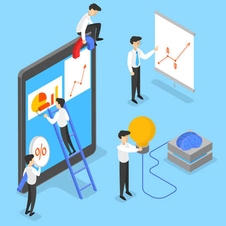 Business concept. Idea of strategy and achievement in teamwork. Brainstorm and strategy. Isolated vector isometric illustration