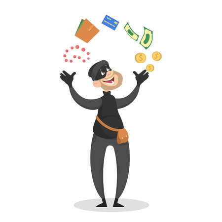 Thief or burglar stealing money. Man in the mask with credit card, wallet and money. Criminal character. Isolated vector illustration in cartoon style Illustration