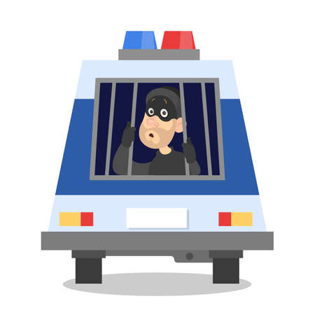 Sad thief in police car. Arrest of the criminal. Bandit in the mask is caught. Isolated vector illustration in cartoon style