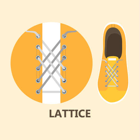 How to tie your shoe laces in different ways instruction. Guide for child step-by-step. Isolated flat vector illustration