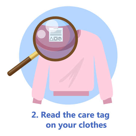 Care tag on clothes. Information about wash and cloth type. Isolated flat vector illustration