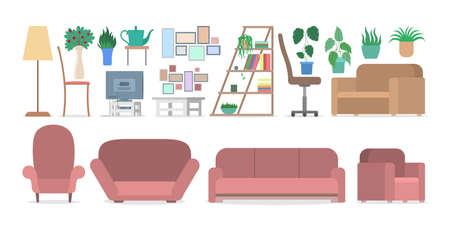 Meubilair voor interieur in appartement set. Collectie bank en fauteuil. Comfortabele zit en plant in pot. Huis ontwerpelement. Platte vectorillustratie
