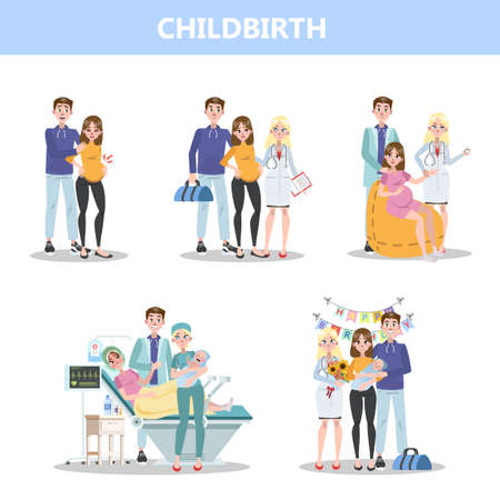 Preparing for hospital before baby birth. Woman giving birth and happy family holding newborn. Isolated flat vector illustration Stockfoto - 126746561