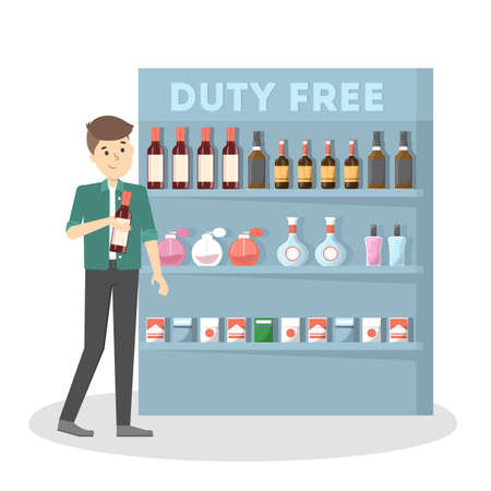 Duty free in the airport building. Man buying cheap sweets, chocolate and drinks. Tax free. Vector flat illustration
